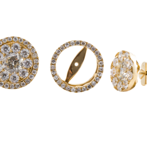 18k Yellow Gold Removable Jacket 3.50ct Round Diamond Stud Earring Jewels in Paradise Aruba