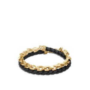 Asli Classic Chain Link Double Wrap Bracelet, 18K Gold, Leather John Hardy Jewels in Paradise Aruba BMG900026BL