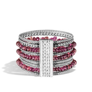 Classic Chain 37MM Multi Row Bracelet in Silver with Gemstone John Hardy Jewels in Paradise Aruba BBS902281PTMMGA