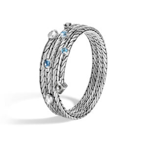 Classic Chain Triple Coil Bracelet in Hammered Silver with Gemstone John Hardy Jewels in Paradise Aruba BBS903481MBTSCC