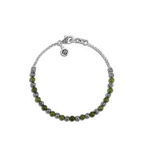 Classic Chain 4MM Bead Bracelet in Silver with Gemstone / Nephrite Green Jade John Hardy Jewels in Paradise Aruba BBS903977CJD