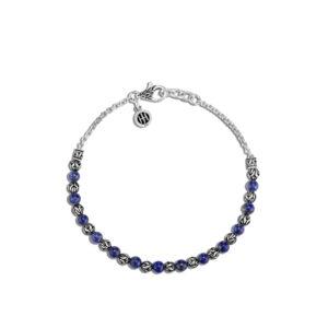 Classic Chain 4MM Bead Bracelet in Silver with Gemstone / Lapis Lazuli John Hardy Jewels in Paradise Aruba BBS903977LPZ