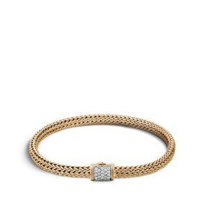 Classic Chain 5MM Bracelet in 18K Gold with Diamonds John Hardy Jewels in Paradise Aruba BGX96002DIA