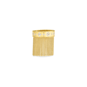 7772976AY70X, 18k Princess Tassel Fringe Ring with Diamond Accent