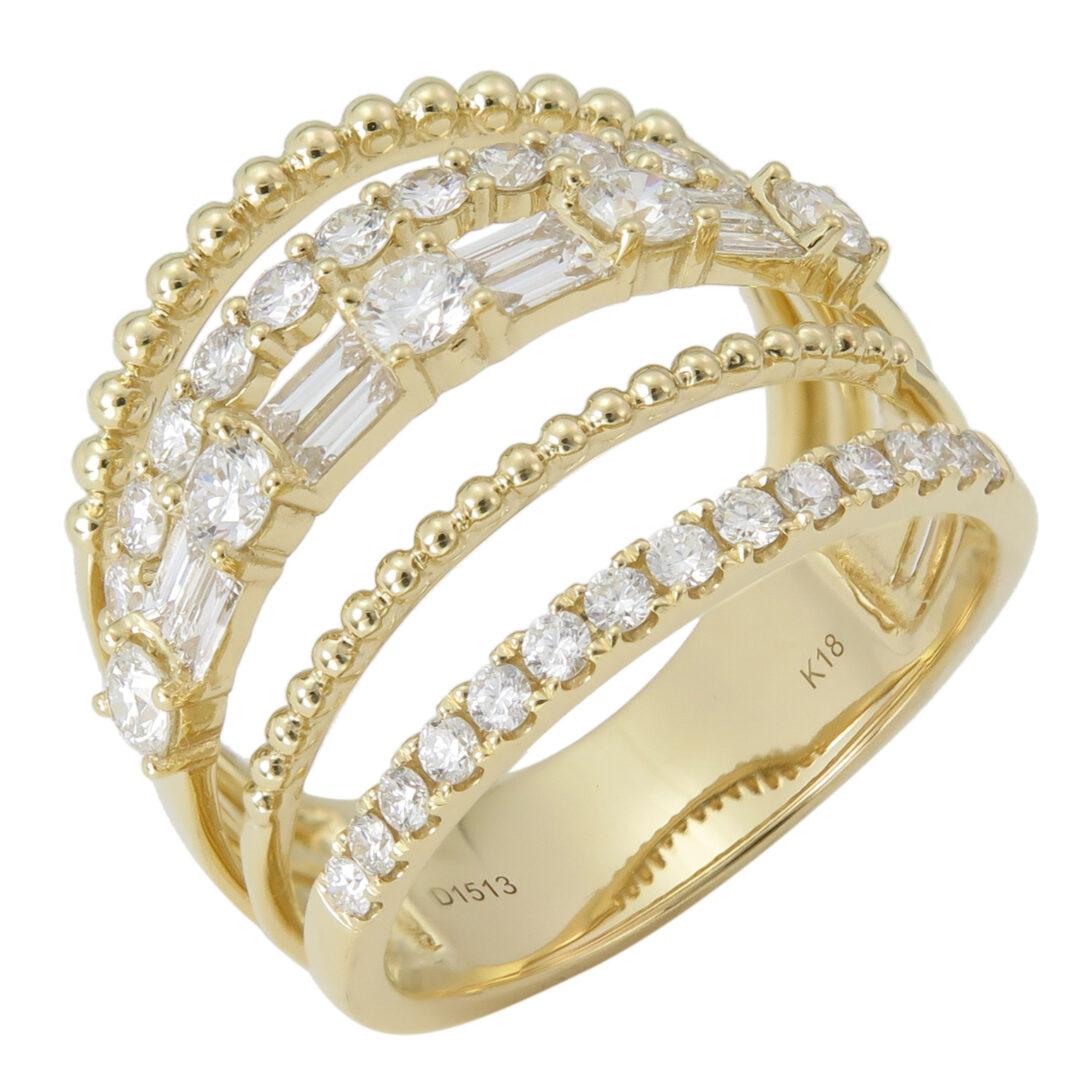 18k Yellow Gold Round & Baguette Split Diamond Cocktail Ring Jewels in Paradise Aruba