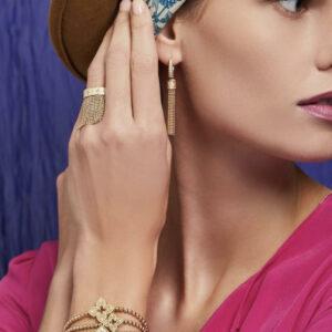 7772976AY65X, 18k Princess Tassel Fringe Ring with Diamond Accent