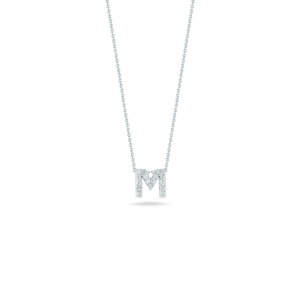 18k Gold Love Letter M Pendant with Diamonds Roberto Coin Jewels in Paradise Aruba 001634AWCHXM