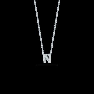 18k White Gold Love Letter N Pendant with Diamonds Roberto Coin Jewels in Paradise Aruba 001634AWCHXN