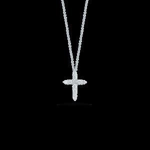 18k White Gold Cross Pendant with Diamonds Jewels in Paradise Aruba Roberto Coin 001857AWCHX0