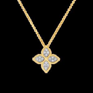 7771371AJCHX, Roberto Coin 18k Yellow Gold Princess Flower Medium Diamond Pendant Jewels in Paradise Aruba