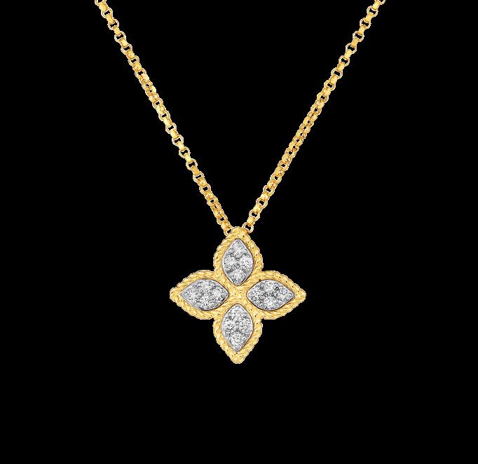 7771371AJCHX, Roberto Coin 18k Yellow Gold Princess Flower Medium Diamond Pendant