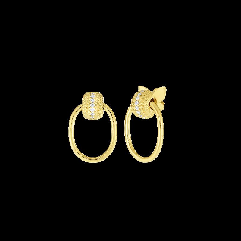 18k Opera Textured Small Doorknocker Earring with Diamonds Roberto Coin Jewels in Paradise Aruba 7772806AYERX