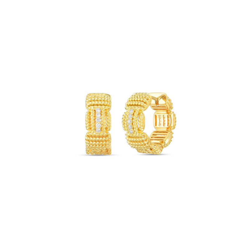 18k Opera Diamond Accent Hoop Earrings Roberto Coin Jewels in Paradise Aruba 7772894AJERX