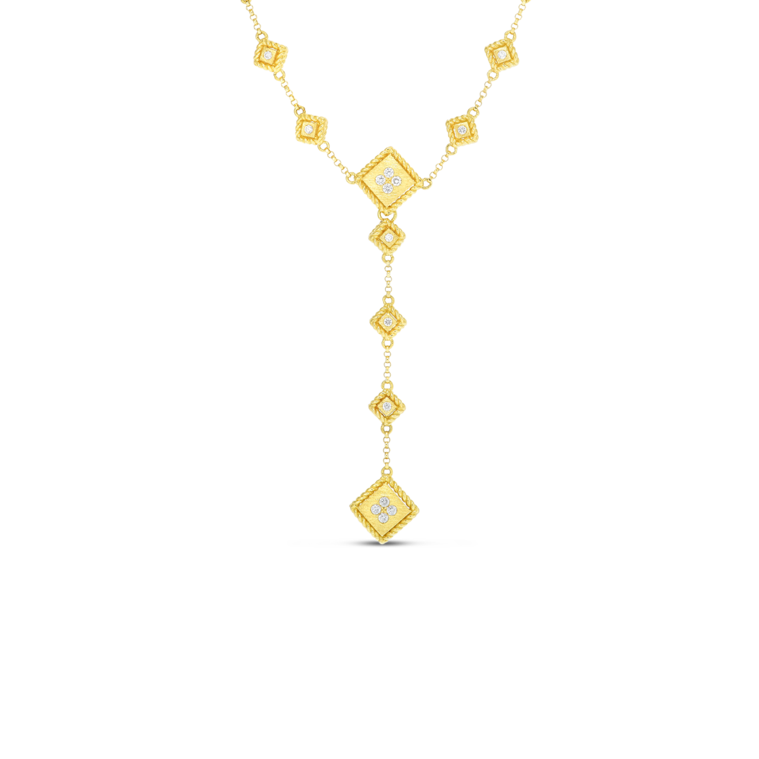 18k Palazzo Ducale Satin 'Y' Necklace with Diamond Accent Roberto Coin Jewels in Paradise Aruba 7772924AY15X