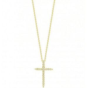 18k Gold Cross Pendant with Diamonds Roberto Coin Jewels in Paradise Aruba rc00001618aychx0