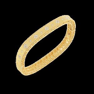 18kt Gold Satin Finish Bangle with Fleur de Lis Diamonds, 7771211AYBAX