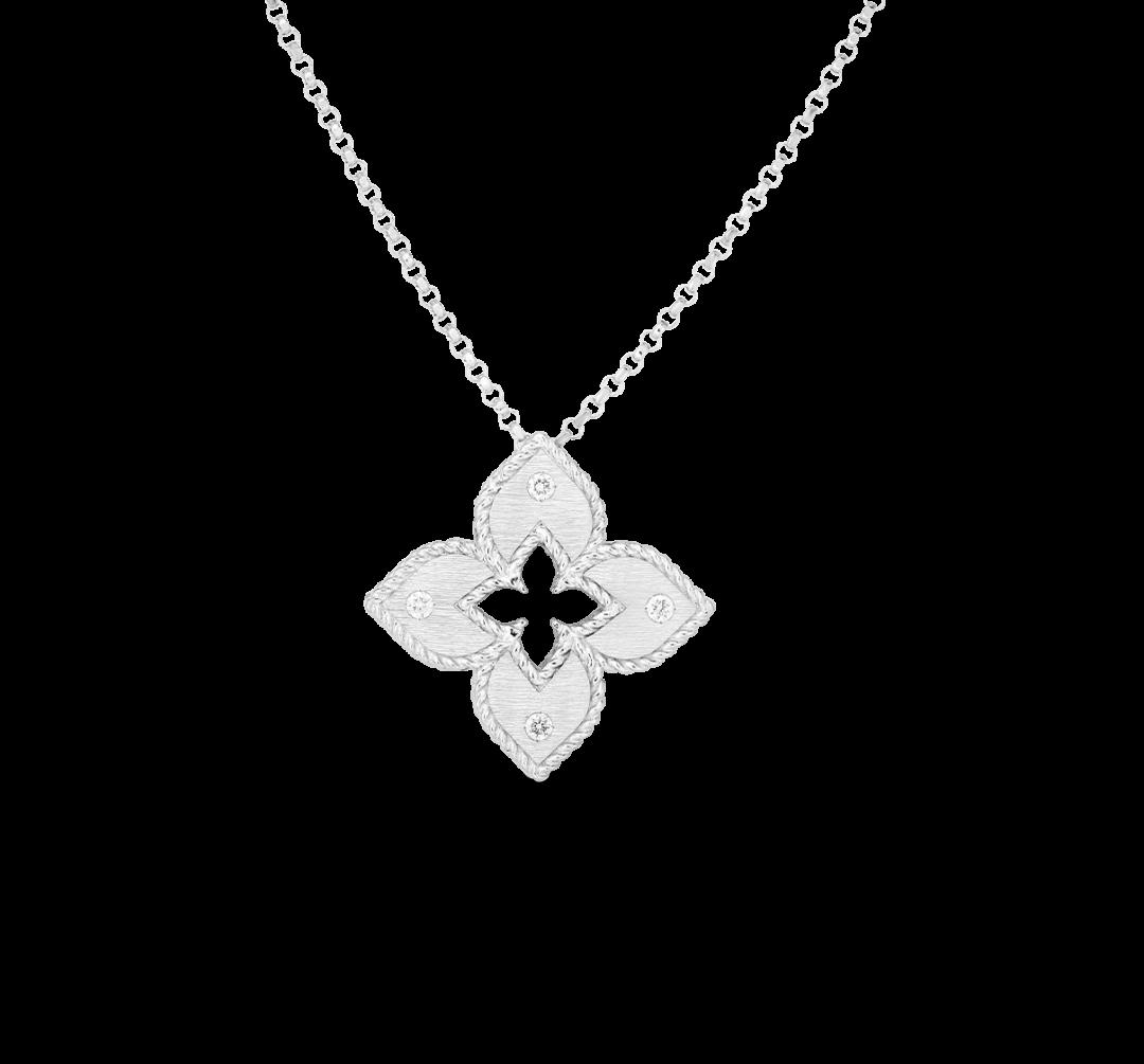 7772824AWCHX 18k Petite Venetian Princes Satin Flower Pendant with Diamond Accent