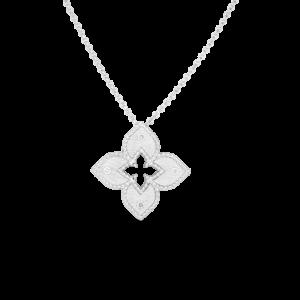 7772824AWCHX 18k Petite Venetian Princes Satin Flower Pendant with Diamond Accent Roberto Coin Jewels in Paradise Aruba