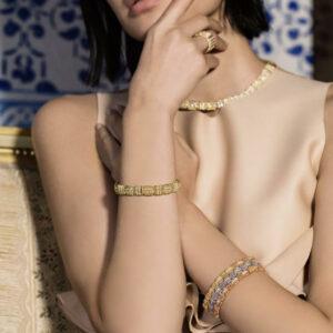 7772895AYLBX, 18k Opera Diamond Flexible Wide Bracelet