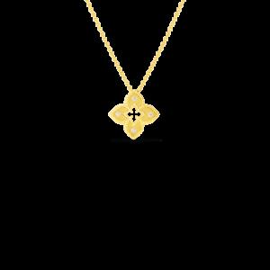 18k Petite Venetian Princess Satin Flower Pendant with Diamond Accent Jewels in Paradise Aruba Roberto Coin 7772985AYCHX