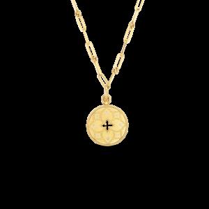 18k Venetian Princess Satin Medallion with Flower Cutout & Diamond Accent on Chain Roberto Coin Jewels in Paradise Aruba 7773101AY19X
