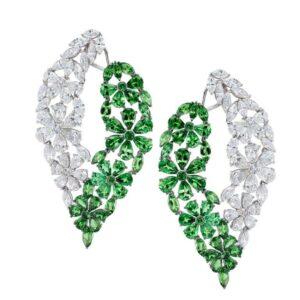 18k White Gold Diamond & Tsavorite Earring
